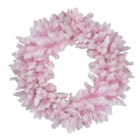 "48"" Flocked Cupcake Pink Artificial Spruce Christmas Wreath - Unlit"