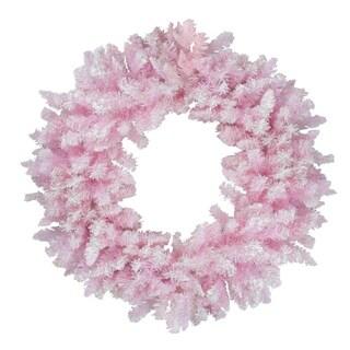 "48"" Flocked Cupcake Pink Artificial Spruce Christmas Wreath - Unlit"