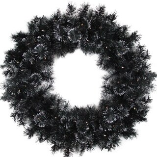 "36"" Battery Operated Black Bristle Artificial Christmas Wreath - Warm White LED Lights"