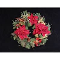 "26"" Poinsettia Berry and Pine Cone Artificial Christmas Wreath - Unlit"