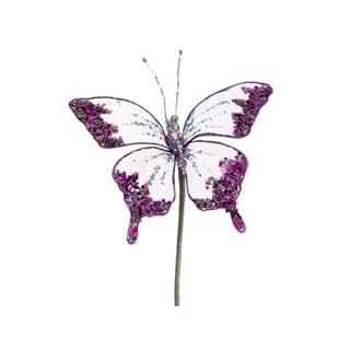 "7"" Princess Garden Glittering Violet Butterfly Beaded Floral Craft Pick"