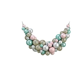 """28"""" Pastel Dreams Pink and Seafoam Green Glittered Shatterproof Ball Artificial Swag - Unlit"""