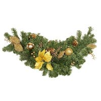 "36"" Pre-Decorated Gold Poinsettia, Apple and Berry Artificial Christmas Swag - Unlit"