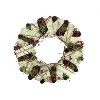 """19"""" Natural Twig and Birch Wood Pine Cone Artificial Christmas Wreath - Unlit"""