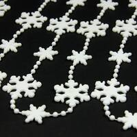 "White Snowflake Beaded Christmas Garland 8' x 1.25"""