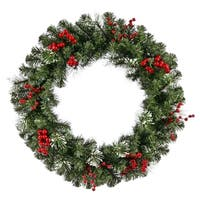 """30"""" Siegal Berry Pine w/ Holly Berries Artificial Christmas Wreath - Unlit"""