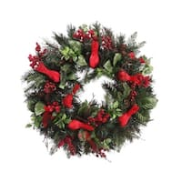 "24"" Pre-Decorated Cardinal, Berry, Pine Cone Artificial Christmas Wreath - Unlit"