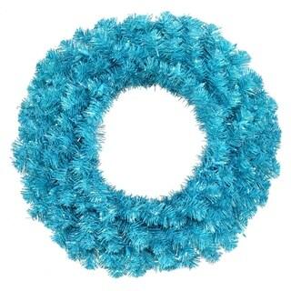 "24"" Pre-Lit Sparkling Sky Blue Artificial Christmas Wreath - Teal Lights"