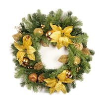 "24"" Pre-Decorated Gold Poinsettia, Apple and Berry Artificial Christmas Wreath - Unlit"