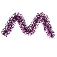 "9' x 10"" Pre-lit Sparkling Purple Tinsel Artificial Christmas Garland - Purple Lights"