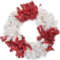"""29"""" Peppermint Twist Red and White Christmas Tinsel Wreath - Clear Lights"""