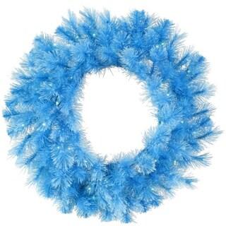 "30"" Pre-Lit Sky Blue Cashmere Artificial Christmas Wreath - Clear Lights"