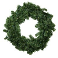 "30"" B/O Canadian Pine Artificial Christmas Wreath - Warm Clear LED Lights"