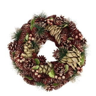 "13"" Burgundy and Gold Glitter Pine Cone and Berries Artificial Christmas Wreath - Unlit