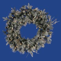 "24"" Pre-Lit Frosted Wistler Fir Artificial Christmas Wreath - Clear Dura Lights"