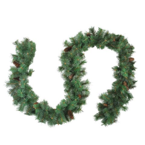 "9' x 12"" Royal Oregon Long Needle Artificial Christmas Garland Pine Cones- Unlit"