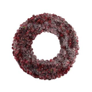 "18"" Wine Burgundy Glitter Pine Cone Artificial Christmas Wreath - Unlit