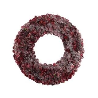 "18"" Wine Burgundy Glitter Pine Cone Artificial Christmas Wreath - Unlit"