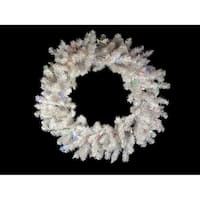 "24"" B/O Pre-Lit Snow White Artificial Christmas Wreath - Multi-Color LED Lights"