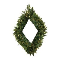 "42"" Pre-Lit Camdon Fir Diamond Shaped Artificial Christmas Wreath - Clear Lights"