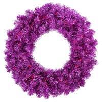 "24"" Pre-Lit Sparkling Wild Purple Artificial Christmas Wreath - Purple Lights"