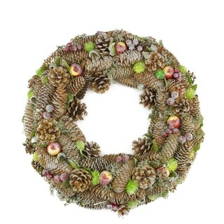 """19.5"""" Natural Pine Cone and Fruit Glitter Artificial Christmas Wreath - Unlit"""