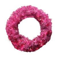 "24"" Pre-Lit Orchid Pink Cedar Pine Artificial Christmas Wreath - Pink Lights"
