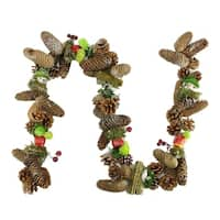 5' Decorative Red Berries, Fruit and Pine Artificial Christmas Garland - Unlit