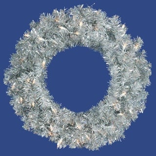 """30"""" Pre-Lit Sparkling Silver Tinsel Artificial Christmas Wreath - Clear Lights"""