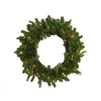 "24"" Hunter Fir Pre-Lit Artificial Christmas Wreath - Clear Lights"
