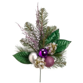 "19"" Artificial Hydrangea and Berry with Purple and Silver Balls Christmas Spray"