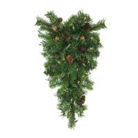 "30"" Pre-Lit Dakota Red Pine Artificial Christmas Teardrop Swag - Clear Dura Lights"