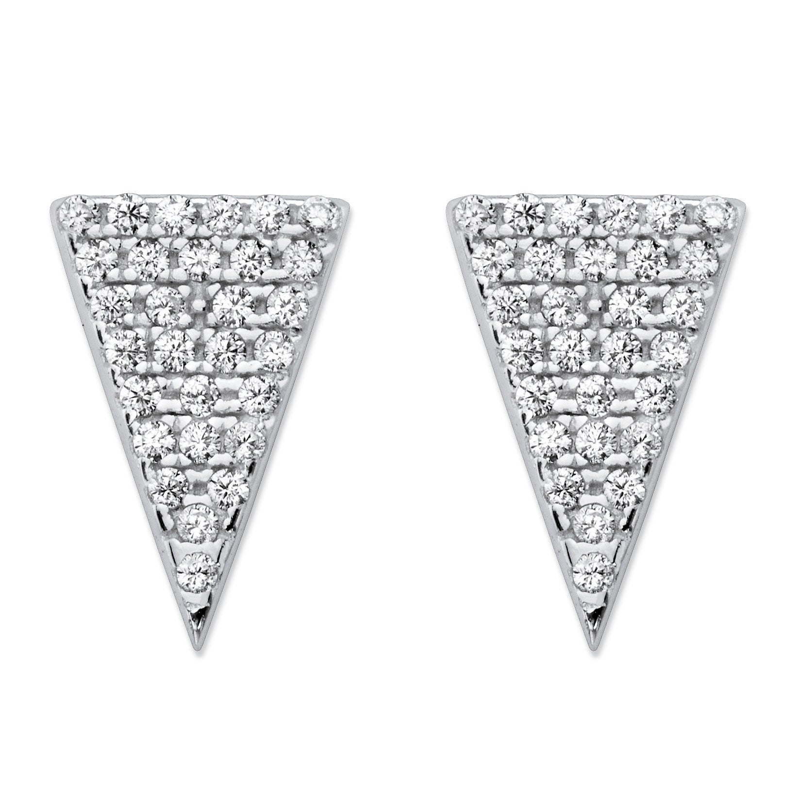 White Pave-Set Cubic Zirconia Triangle Stud Earrings in S...
