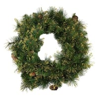 "24"" Mixed Pine Glittered Pine Cone Artificial Christmas Wreath - Unlit"