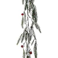 """5' x 15"""" Snowy Pine with Red Jingle Bells Artificial Christmas Garland - Unlit"""