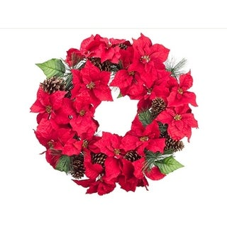 """30"""" Red Poinsettia Blooms and Pine Cone Artificial Floral Christmas Wreath - Unlit"""