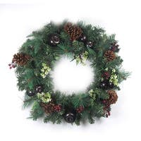 """24"""" Pre-Decorated Red Berry, Pine Cone, Apple Artificial Christmas Wreath -Unlit"""