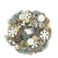 """10.5"""" Frosted Glitter Pine Cone and Fruit Artificial Christmas Wreath - Unlit"""