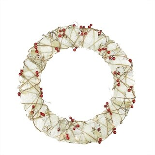 """18"""" Pre-Lit Burlap and Berry Rattan Artificial Christmas Wreath - Clear Lights"""