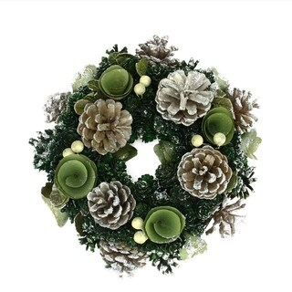 """11"""" Green Mini Pine Cone and Wooden Rose Artificial Christmas Wreath - Unlit"""