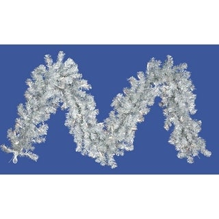 """9' x 10"""" Pre-Lit Silver Tinsel Artificial Christmas Garland - Clear Lights"""