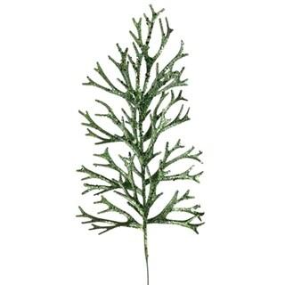 """20.5"""" Princess Garden Dark Green Glitter Drenched Staghorn Fern Craft Pick Spray"""
