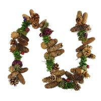 5' Brown and Purple Pine Cone, Twig and Berry Artificial Christmas Garland - Unlit