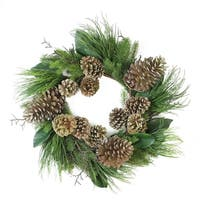 "28"" Monalisa Mixed Pine with Large Pine Cones and Foliage Christmas Wreath - Unlit"
