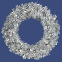 "24"" Pre-Lit Sparkling Silver Tinsel Artificial Christmas Wreath - Clear Lights"