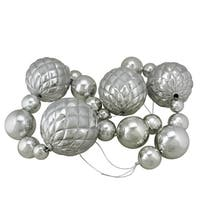 6' Oversized Shatterproof Shiny Silver Christmas Ball Garland with Glitter Accents