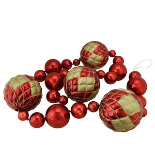 6' Oversized Shatterproof Shiny Red Christmas Ball Garland with Gold Glitter Accents