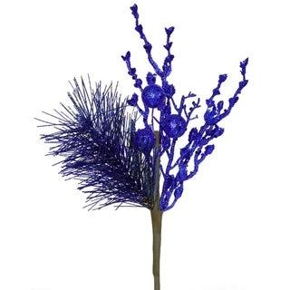 "13"" Sparkling Cobalt Blue Glittered Ball and Pine Christmas Spray"