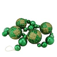 6' Oversized Shatterproof Shiny Green Christmas Ball Garland with Gold Glitter Accents