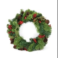"24"" Red Berry and Pine Cone Artificial Christmas Wreath - Unlit"